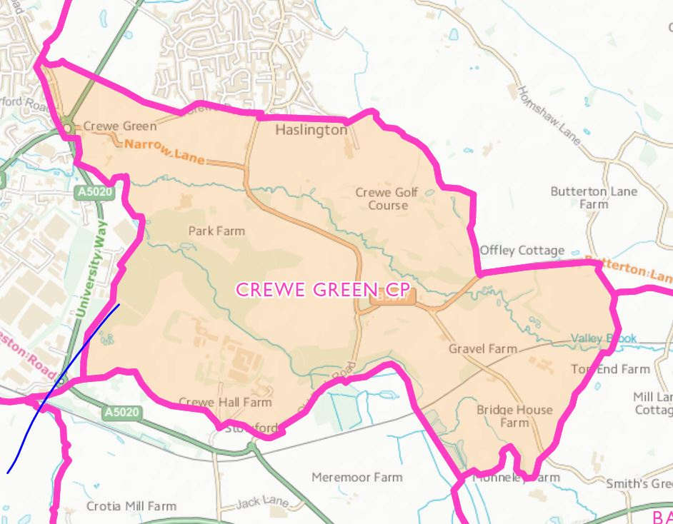 Crewe Green Parish boundary