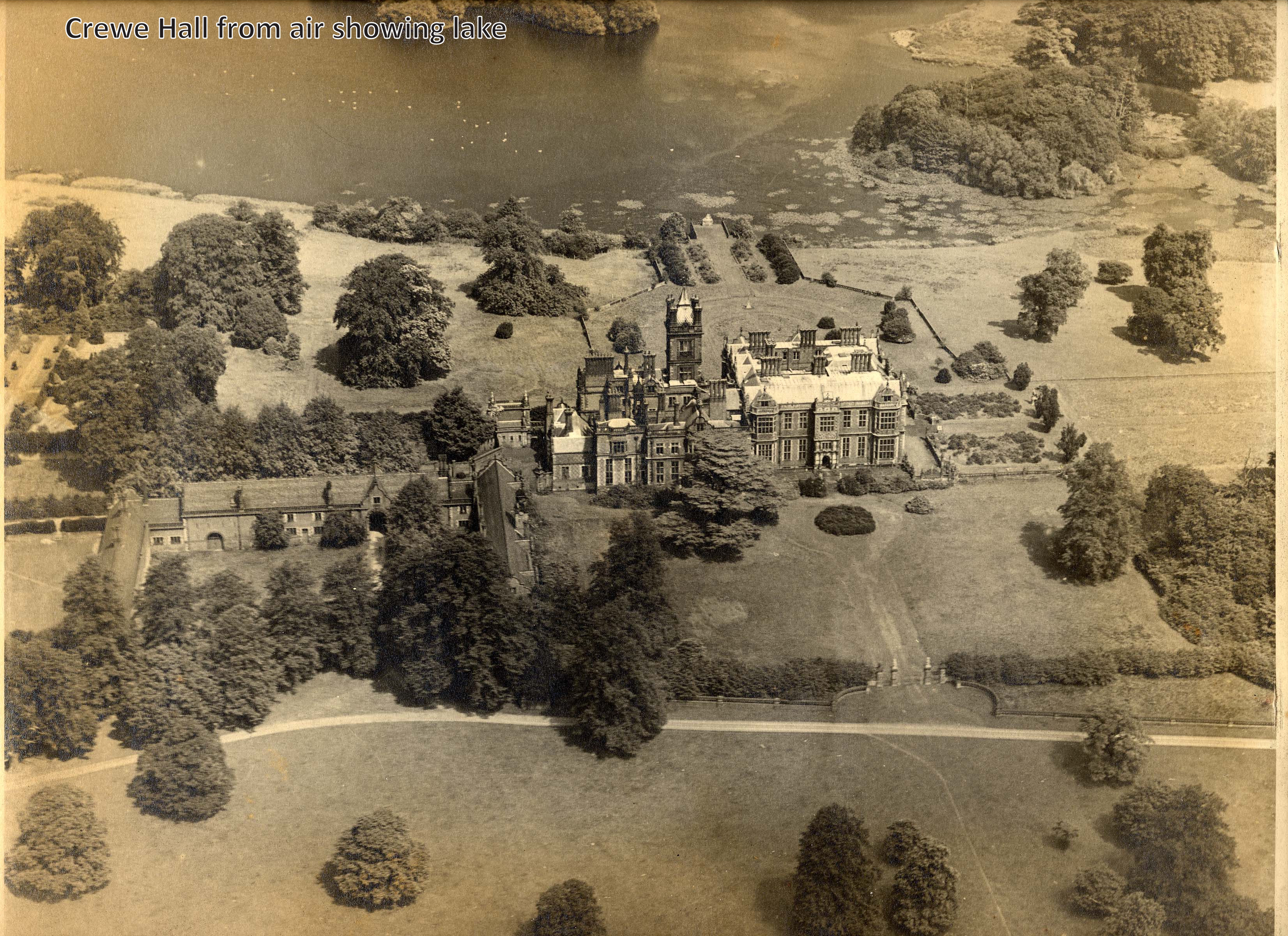 Crewe  Hall from the air